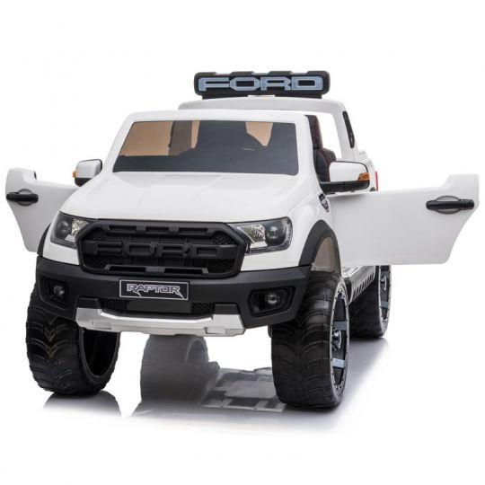MIKO Ηλεκτροκίνητο Ford Ranger Raptor Original Licensed 12V, F-150R με ελαστικά EVA και δερμάτινο κάθισμα σε άσπρο